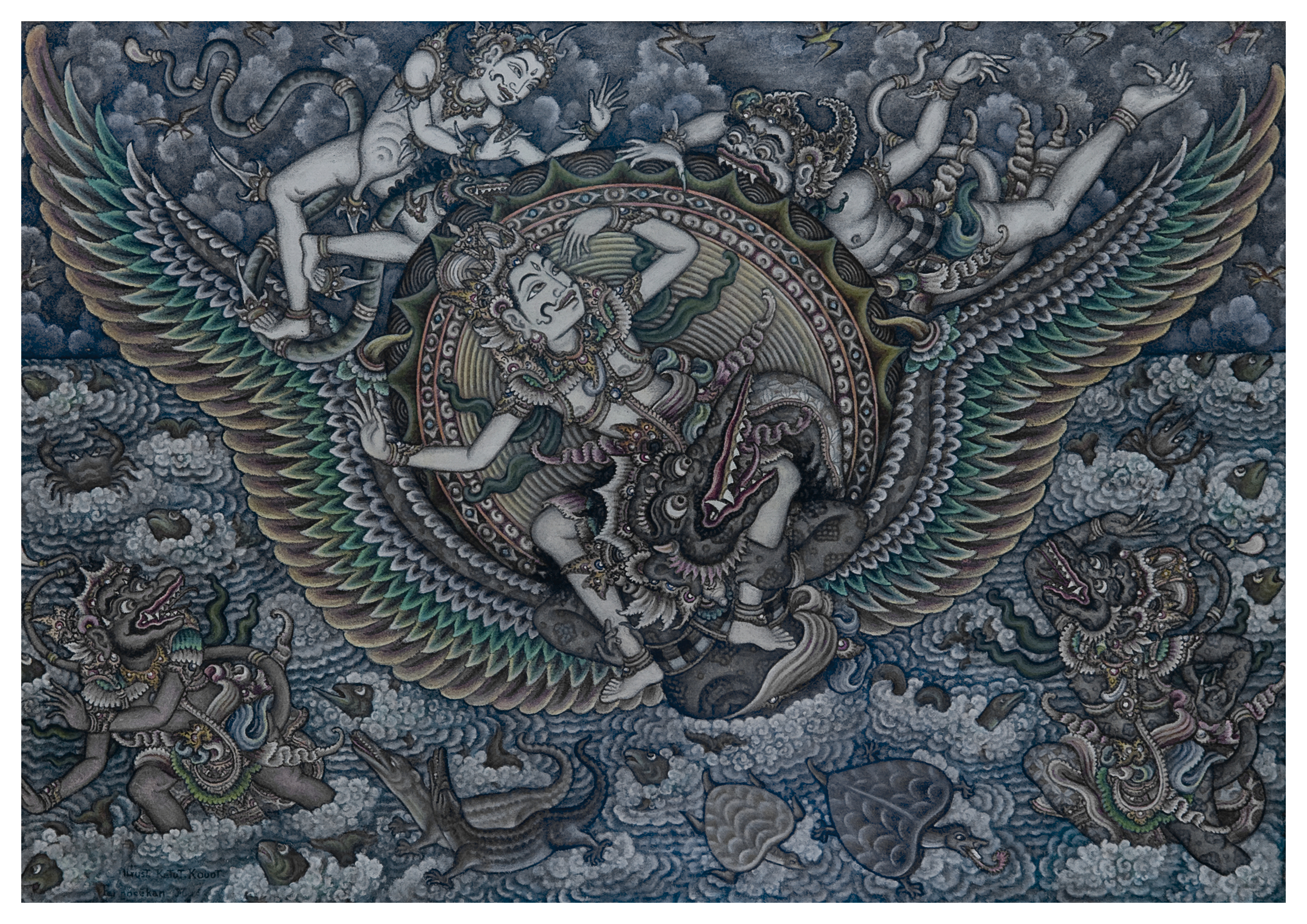 """Hanoman and Surya"". Gusti Ketut Kobot, circa 1960;s acrylic on canvas. Photo David Irons"