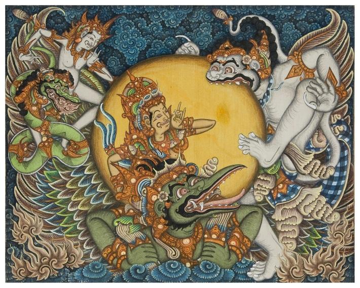 """Hanoman and Surya"". Ketut Madra. 1972, acrylic on canvas - Photo David irons."