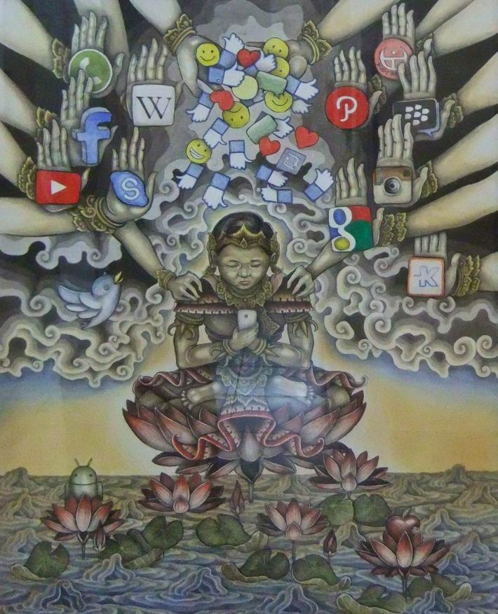 'Seperti Tercerahkan' Wayan Budiarta 2015, Acrylic on Paper, 50x65cm