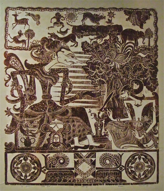 """Dewi Sri"" Lugi Lugiono, Wood Cut print on Paper 1985"