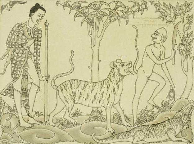 "Gusti Nyoman Lempad, ""Bagawan Darswami"" Trantri Scene, Ink on paper, circa 1950s."