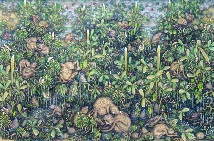 """Harmoni Kehidupan"" Ketut Gelgel, sold for Rp. 65,000,000. Image courtesy Larasati"