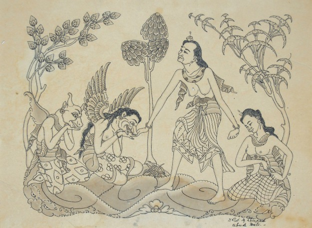 "Gusti Nyoman Lempad, ""The Witch and the Servant"" Ink on paper. sold for Rp. 120,000,000 Image courtesy of Larasati"