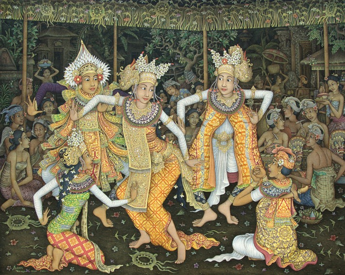 "Wayan Sudana, ""Tari Arja"", 120x150cm, Acrylic on canvas. sold for Rp. 65,000,000"