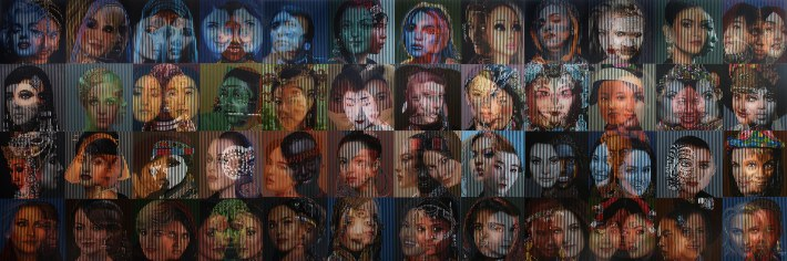 "Galam Zulkifli, ""The Beauty of Relatifity II"" Image courtesy of ArtJog9, Acrylic on Canvas, 200cm x 600cm 3 panel @200 cm x 200 cm, 2015"