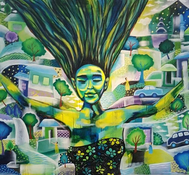 """Kadek Eko """"Peacefulness"""" 130x150cm Acrylic 2016"""