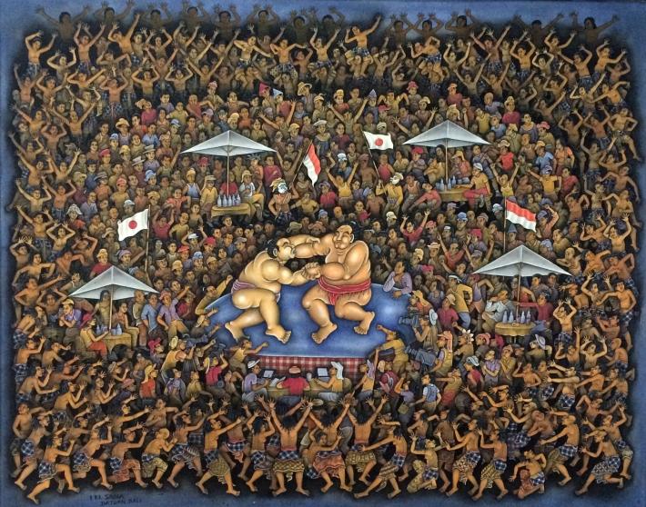 Sadia, I Ketut - Blending of Japanese and Balinese Tradition, 100x 80 cm, Acrylic on Canvas, 2013