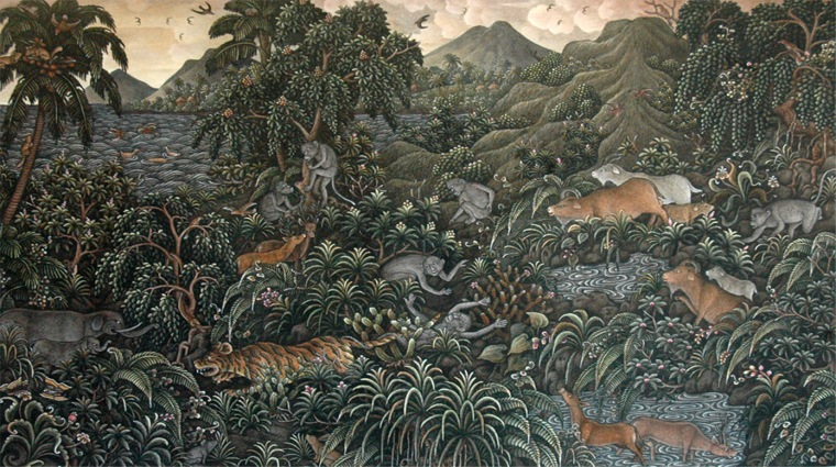Taweng, I Wayan - The Unlucky Monkey, 51 x 33 cm, Acrylic on Paper, 2000