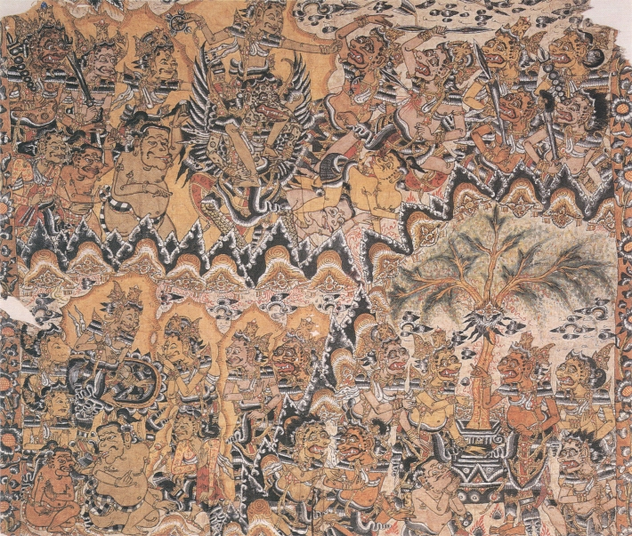 Kamasan 1605 wayan Dogol, The charming of Mandara Giri, natural pigment on paper.