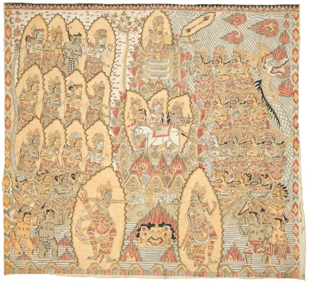 """The Turning of Mount Mandara"" .Mangku Mura 1973, natural pigments on cloth, Photo -David Irons"