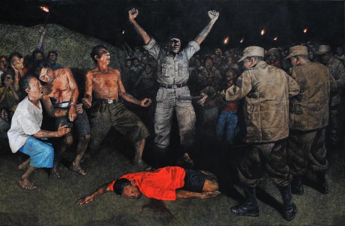 mangu-putra-2014-eksekusi-letda-reta-oil-on-canvas-190-x-290-cm