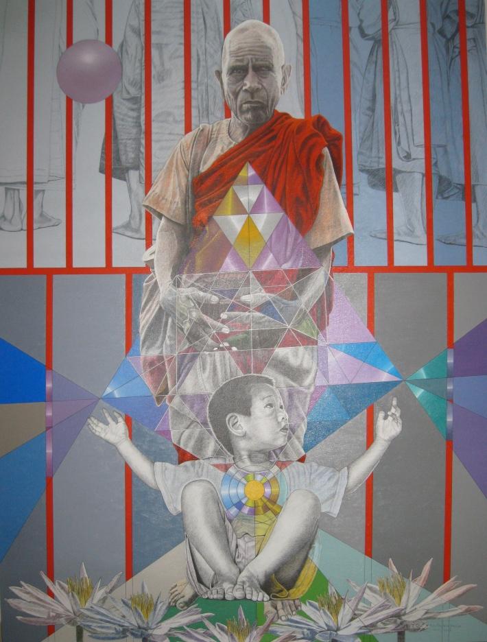 'Lotuses 3', 2009, mixed media on canvas.