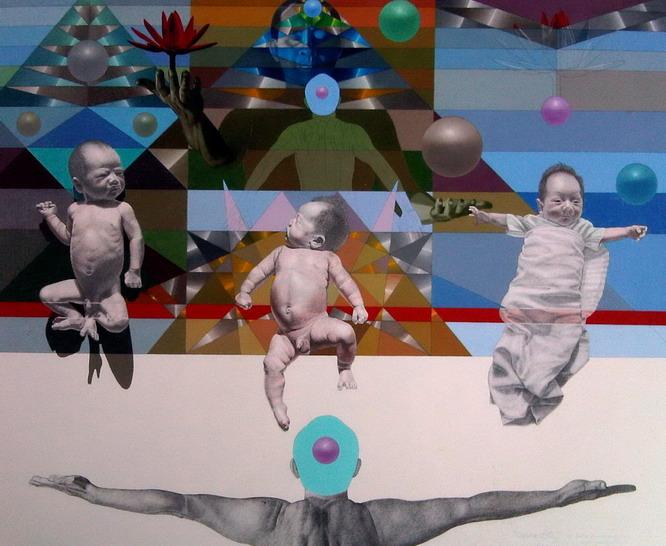 'Lotuses 5', mixed media on canvas, 2009.