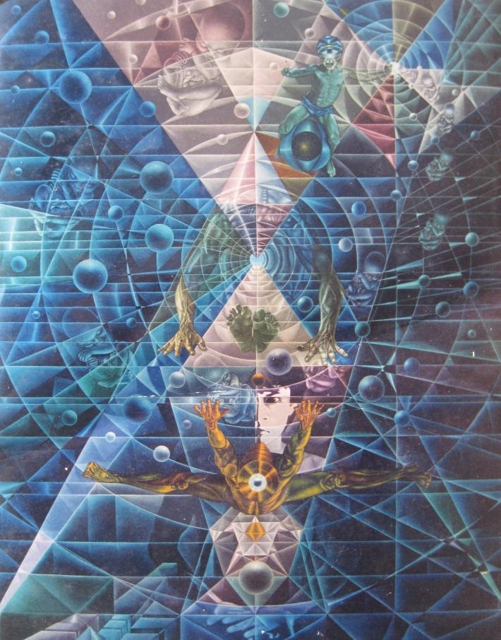 'Reincarnation', circa 1985, mixed media on canvas,