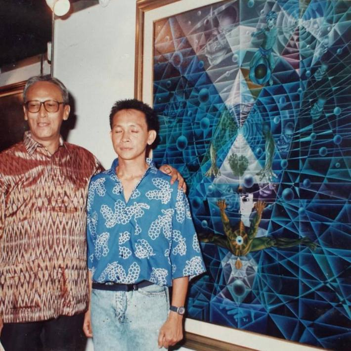 Sutjipto Adi and unknown character 1987 solo exhibition TIM Jakarta