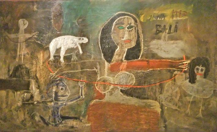 """'Benang Merah Bali - Basel"""" (The Red Thread From Bali to Basel) Made Djirna. 1993, mixed media on canvas, 145 x 245cm..JPG"""