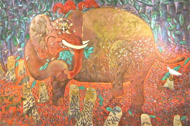 """Gajah Genit"" (flirty Elephant) Made Djirna. 2012, mixed media on canvas, 260x400cm..JPG"