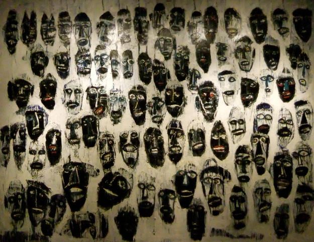 """Wajah Wajah Mengambang"" (Floating Faces) Made Djirna, 2008, oil on canvas, 295 x 380cm."