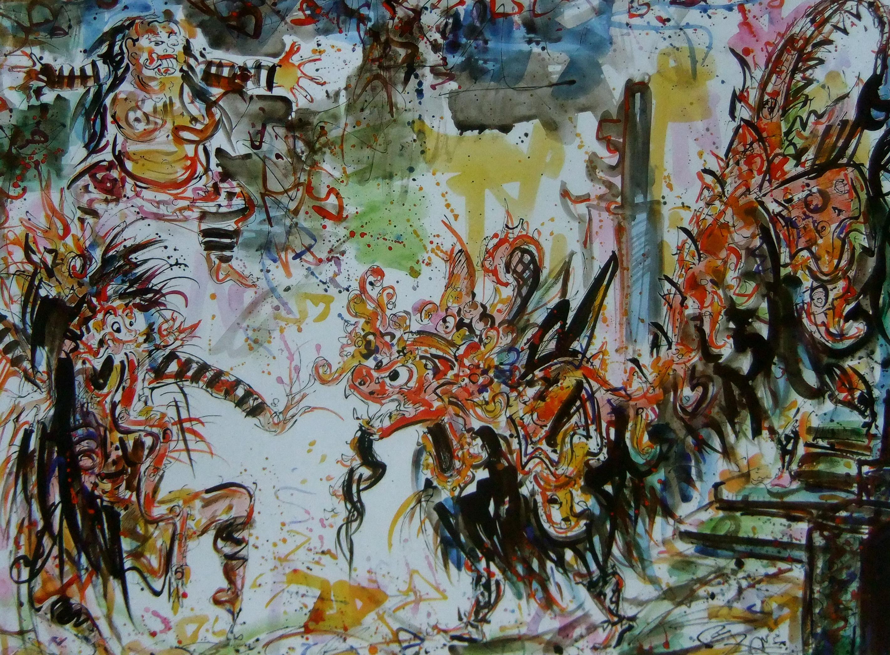 nyoman gunarsa, 2006 water color on paper. 115x161cm.Barong Dance,