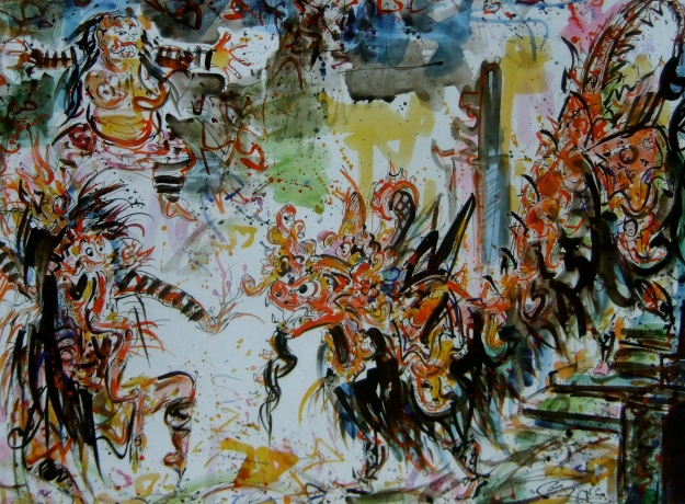 nyoman gunarsa, 2006 water color on paper. 115x161cm.Barong Dance,