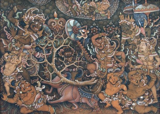 "Gusti Ketut Kobot.""Scene from Ramayana Story"" 50x70cm"