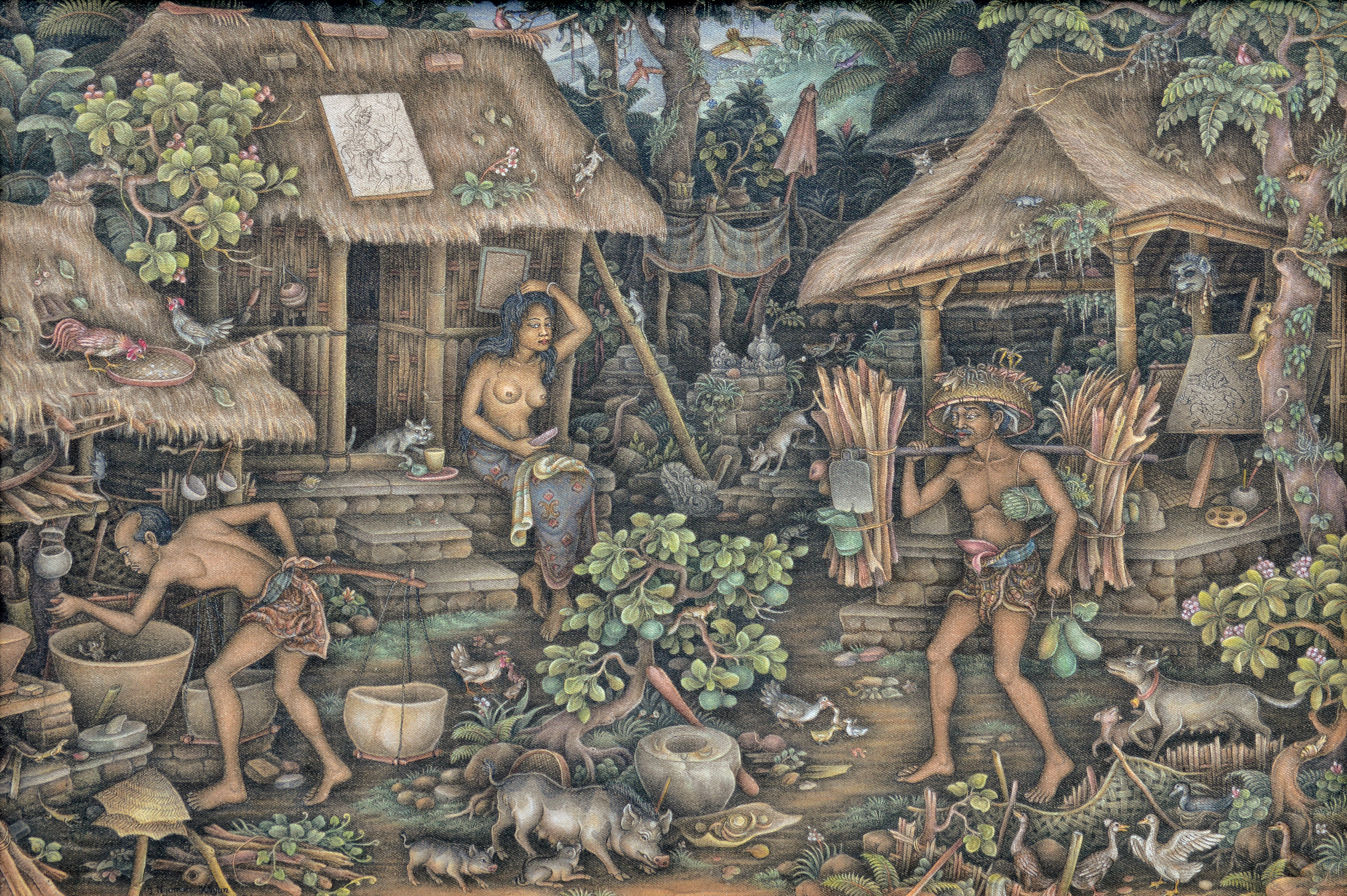 "Lot 546 Nyoman Kayun ""Suasana di Desa"" 2008, Image courtesy of Larasati"