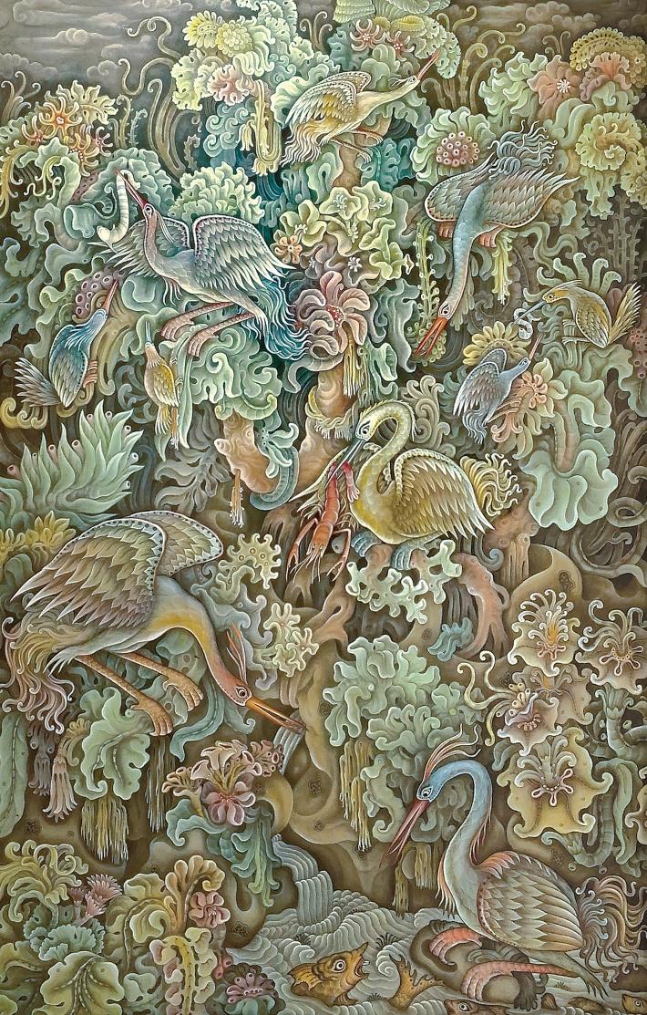 """Lot 561 Dewa Ketut Rungan """"Burung-Burung Surgawi"""" Image courtesy of Larasati"""