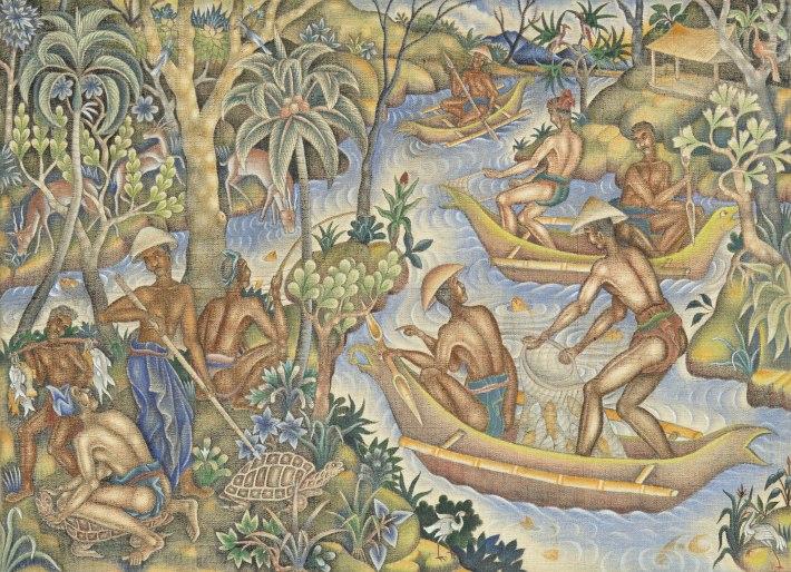 """Lot 576 Ida Bagus Made Nadera """"Kehidupan Nelayan"""" 1950 Image courtesy of Larasati"""