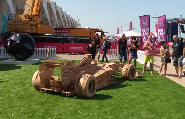 "F1 fans enjoy Noor's ""Got Wood"" a wooden replica of a F1 racing car"