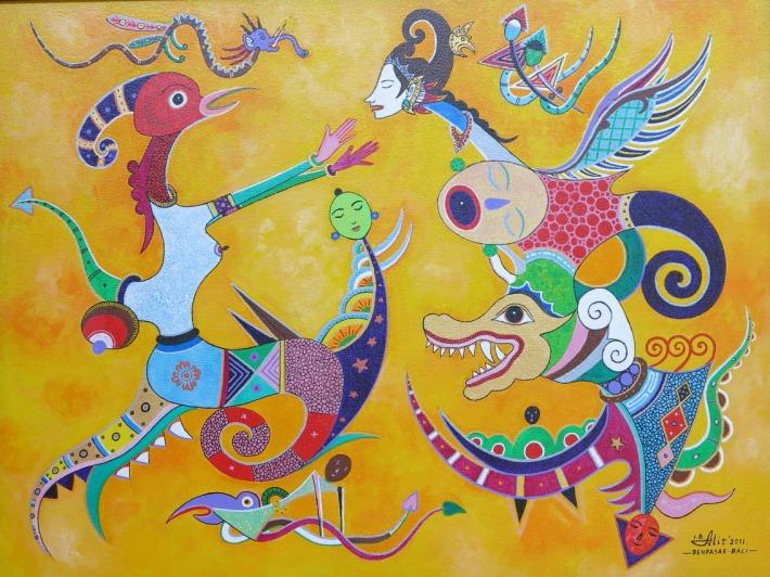 """Ida Bagus Alit, """"Friendship"""" 2011, acrylic on canvas"""