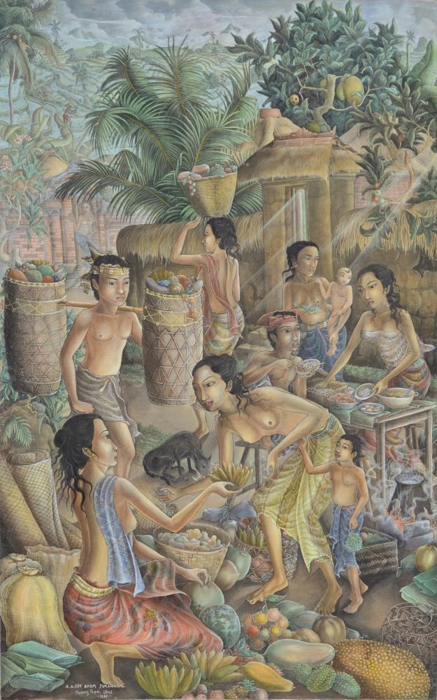 "lot#564 Anak Agung Gde Anom Sukawati ""Suasana Pasar"" Image coutesy Larasati"