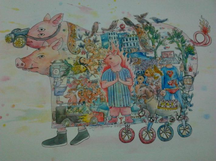 apapun yang terjadi, hidup harus dijalani#1, water colour and ink on paper, 37 cm x 55 cm, 2012