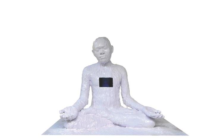 Iwayan upadana 'the process' 2012 Video instalation in sculpture ( Polyester resin, spray paint