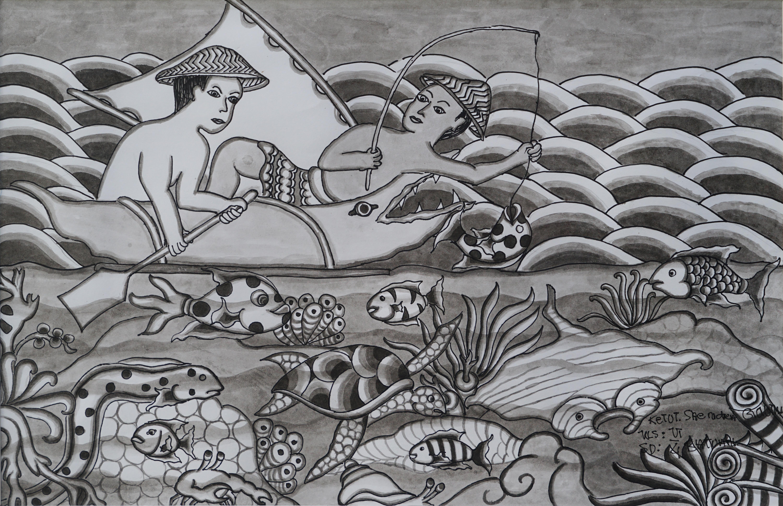 TiTian Prize Childrens Art A- KETUT SANDRA GAUTAMA-NELAYAN-24 X 36 CM