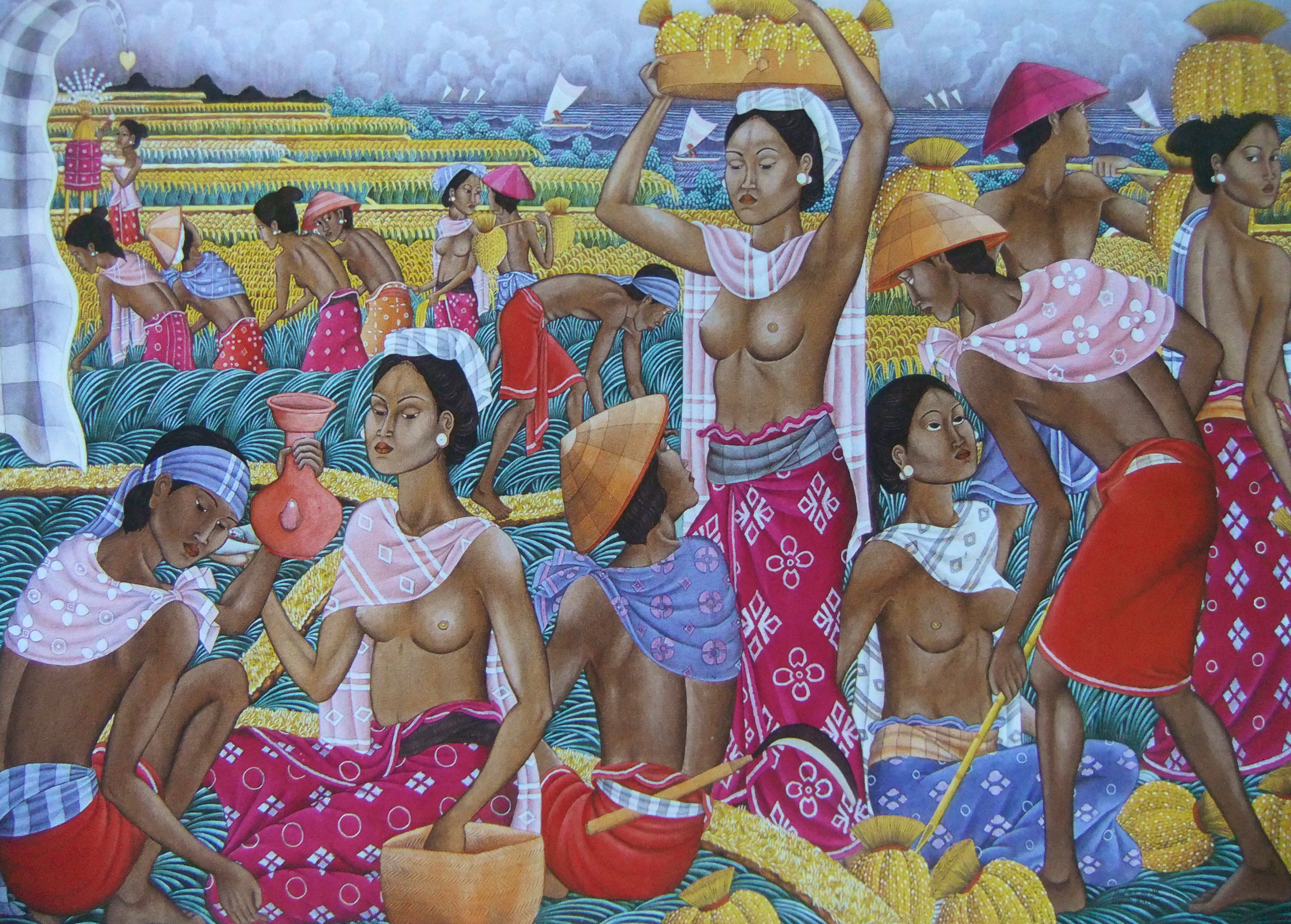 Dewa Putu Bedil, 'Harvest Scene', 1980, acrylic on canvas 136x200cm