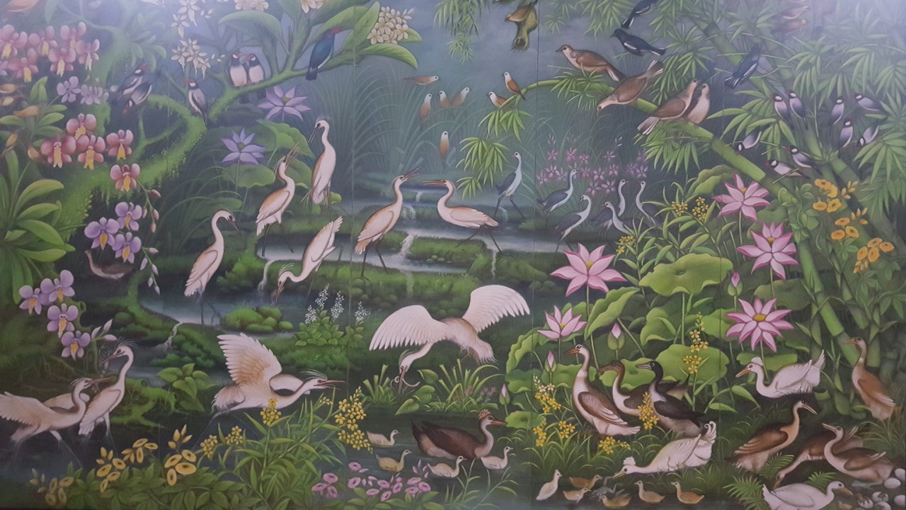 Flora and fauna painting by Ketut Rudi of Lodtunduh
