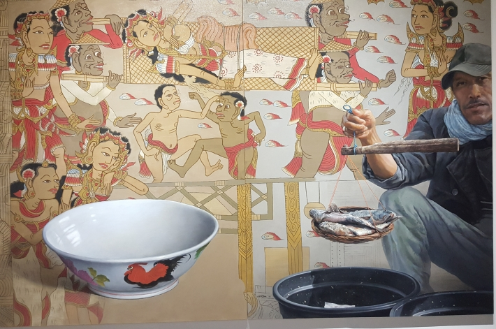 "chusin setiadikara - ""jejak-jejak jalur sutra"" 2017 150 x 200cm oil & acrylic on canvas - image richard horstman"