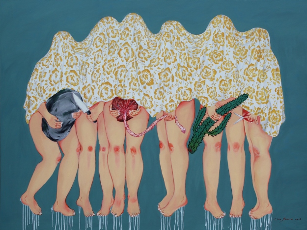 citra sasmita - metamorphosis(the flowers of carnage) 2018 acrylic and oil on canvas, image courtesy of the artist