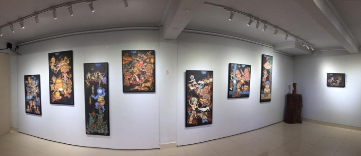 Installation view of Hell Sign at TiTian Art Space. Image TiTian Art Space