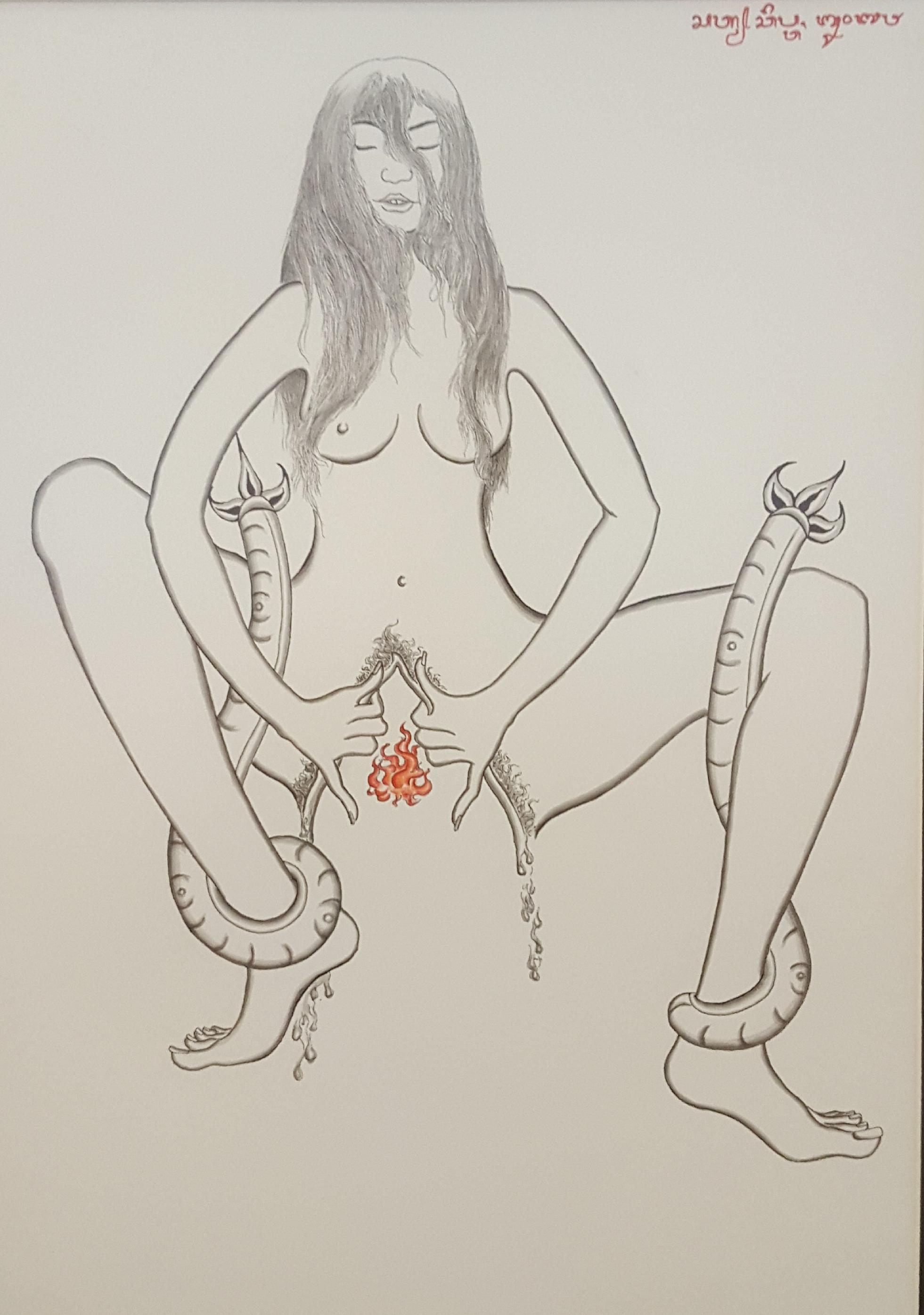 """Satya Cipta """"Broken Vulva"""" 2018 chinese ink & kencu on paper"""