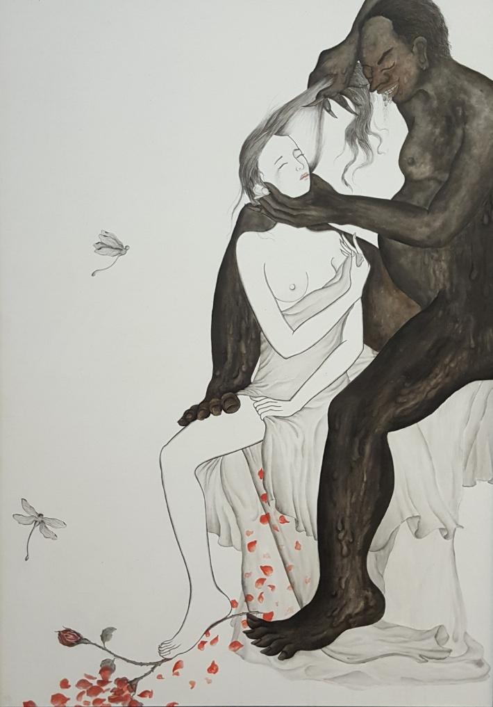 "Satya Cipta ""Darmi"" 2018 Chinese ink & Kencu on canvas. Image R. Horstman"