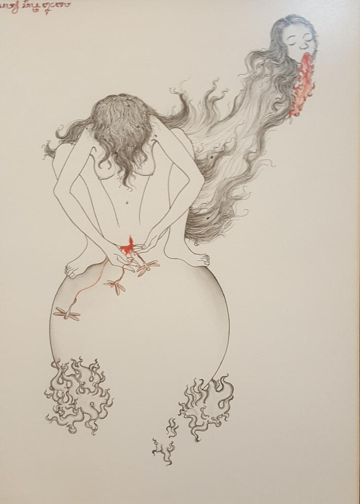 "Satya Cipta ""Spirit"" 2018 chinese ink on hot pressed paper. Image R. Horstman"