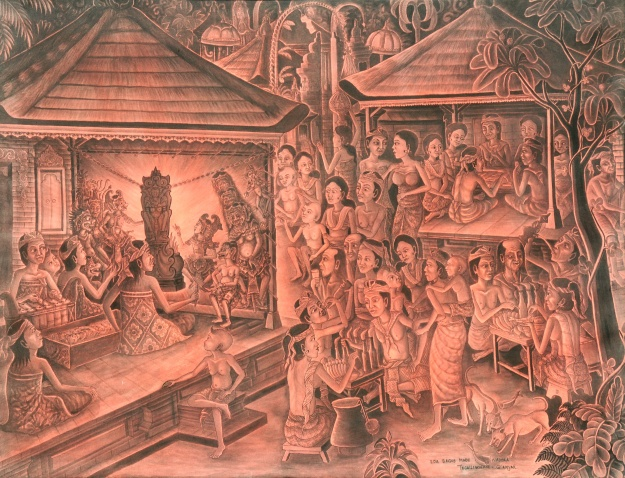"Ida Bagus Made Nadera,"" Nonton Wayang"", 95x125cm, acrylic on canvas. - Copy"