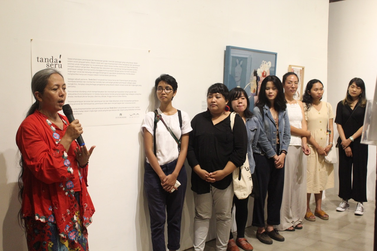 Leading Indonesian contemporary artist Arahmaiani and Tanda Seru artists during the exhibition opening at Uma Seminyak 31 March 2019 - Image courtesy Futuwonder