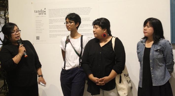 "Ruth Onduko hosting the opening of Futuwonder's most recent exhibition ""Tanda Seru"" March 2019 at Uma Seminyak"