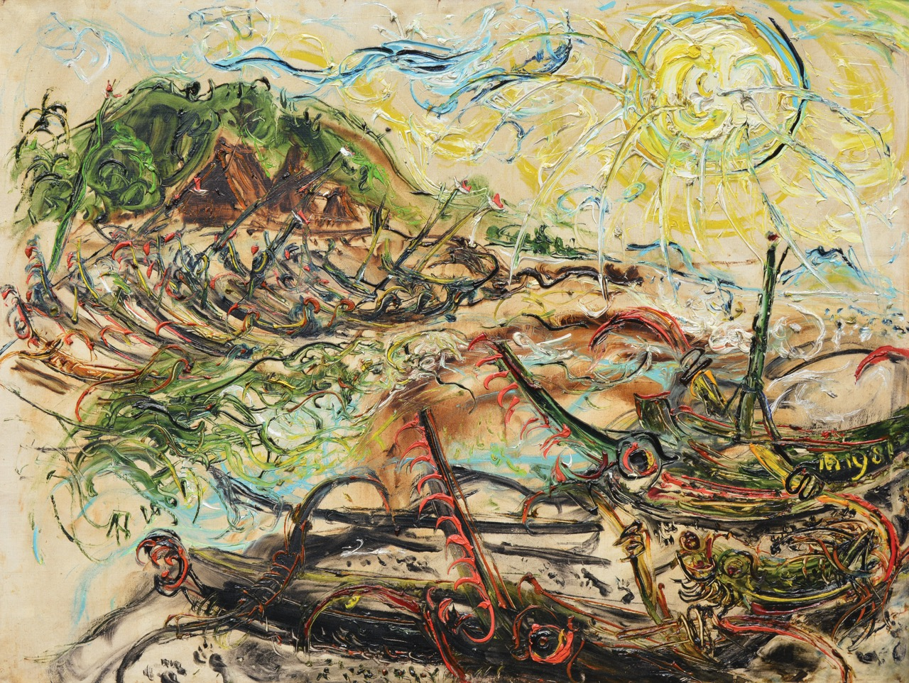 "Lot 627 ""Boats at Kusamba"" - Affandi Image Courtesy of Larasati"