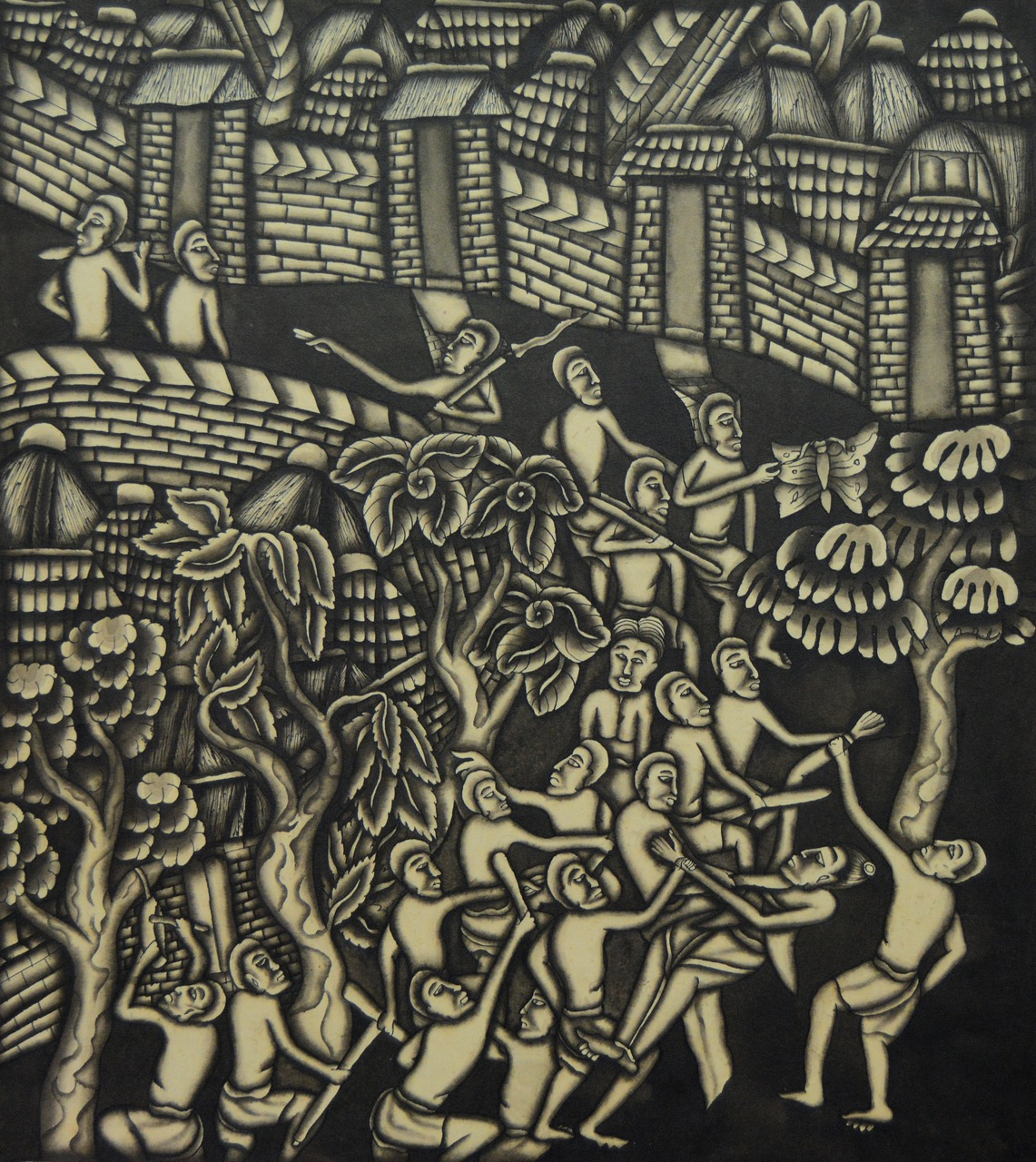"Lot 647 ""A Fight in a Village"" Dewa Made Koendel Image Courtesy of Larasati"