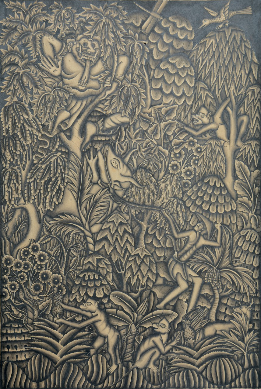 "Lot 649 ""A God and many animals in a Forest"" - I Griem Image Courtesy of Larasati"