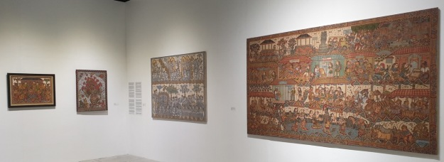 Balinese Classical paintings by, from left Mungku Muriati, Mangku Mura, Mangku Kondra & Mangku Nyoman Kondra. Image Richard Horstman