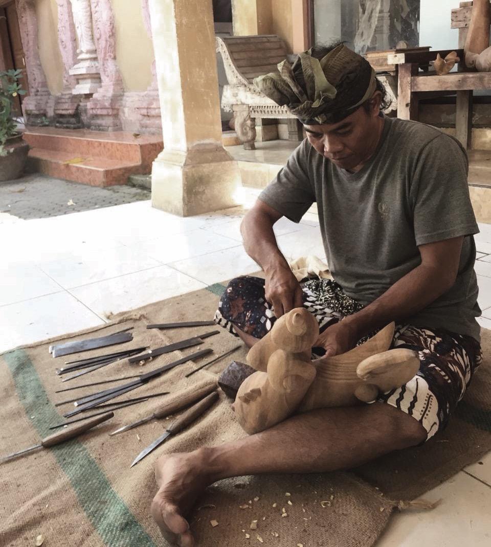Balinese woodcarver Wayan Jana at work in his Gianyar Studio - Image courtesy Wayan Jana